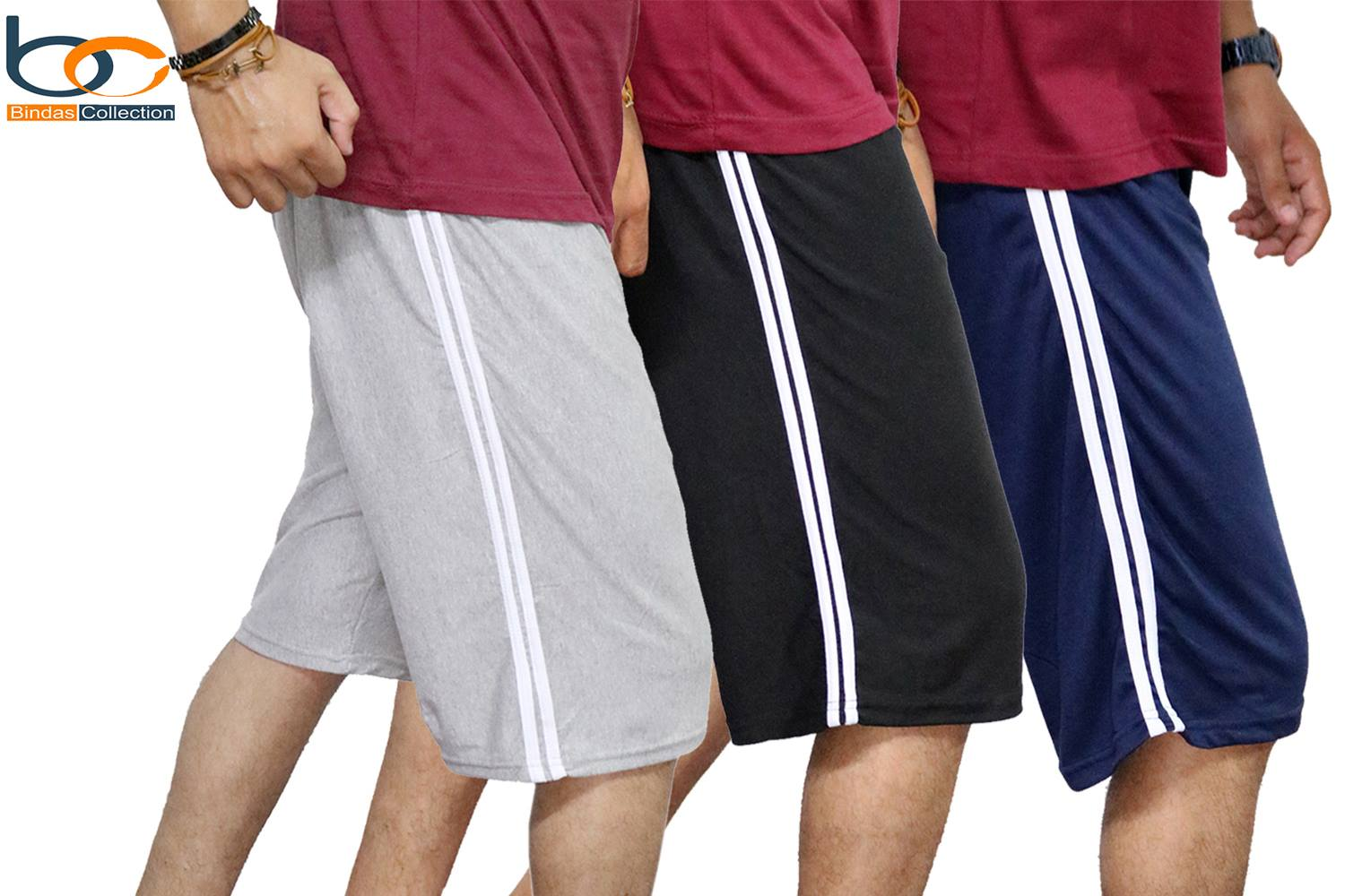 Bindas Collection Pack Of 3 Summer Cotton Jersey Shorts For Men