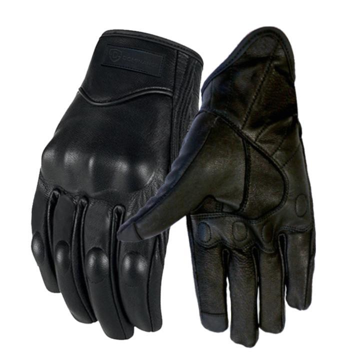 Dominance Men's Winter Black Gloves Leather Touchscreen Snap Closure Cycling Glove Outdoor Riding Warm Waterproof Gloves