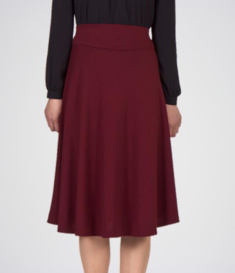 Women's Linen Short Skirt, Pleated Skirt, Formal Skirt, Ladies Skirt, Dresses, Short Skirt (Maroon).