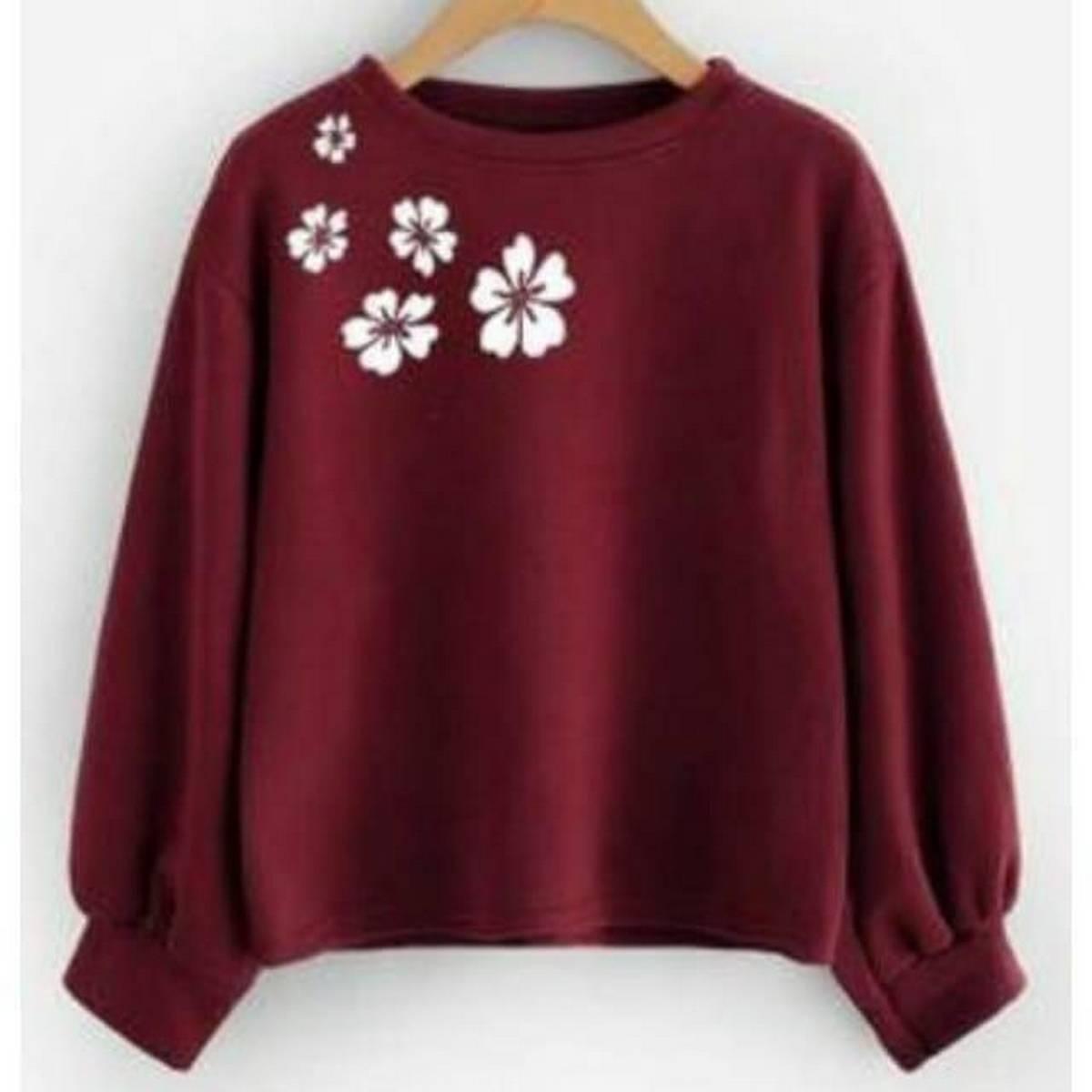 Mehroon Printer Flower Sweatshirt For Girls And Women