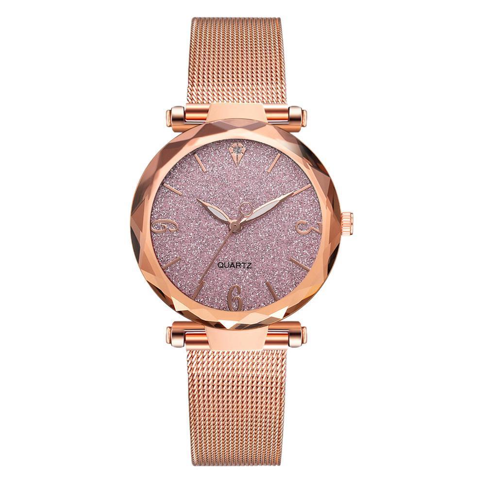 af5c8c29221 uebfashion Elegant Girls Shiny Mesh Strap Quartz Watches Casual Women  Wristwatch Gift