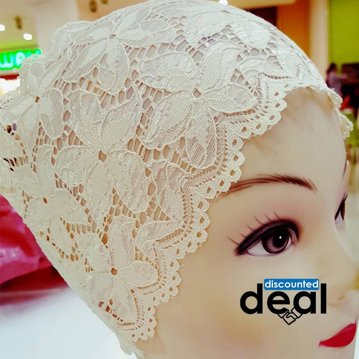 lace net offwhite Muslim Headscarf Inner Hijab Caps Wraps Women Islamic Under Scarf Ninja Scarf Ramadan Stretch Bonnet Caps