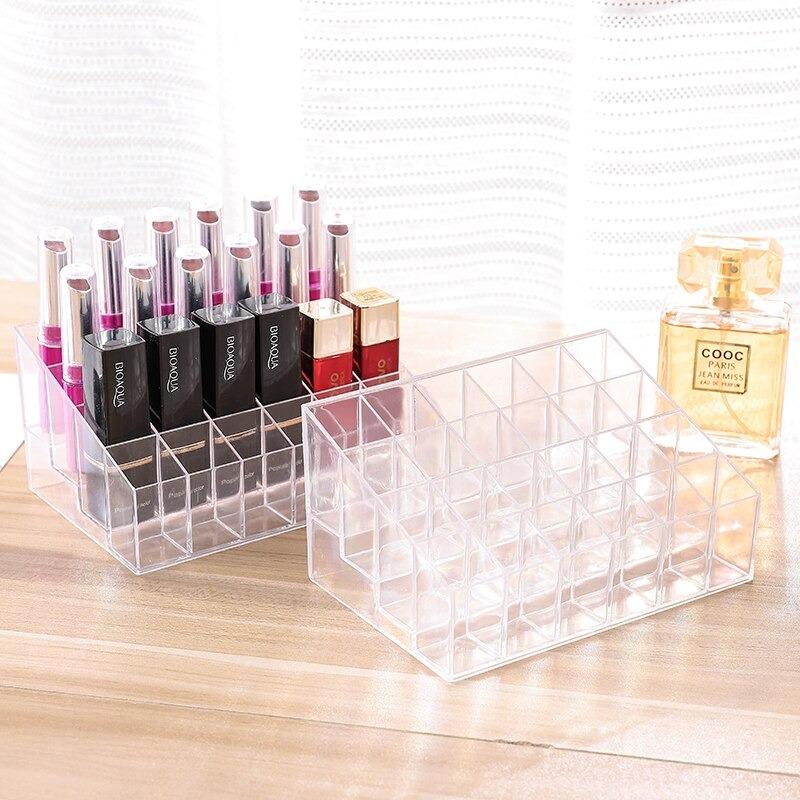 New Beautiful 24 Cells Acrylic Makeup Organizer Womens Lipstick Storage Box Cosmetics Box Nail Polish Display Stand Lipstick Jewelry Box Holder Case Stand Cosmetic Organizer