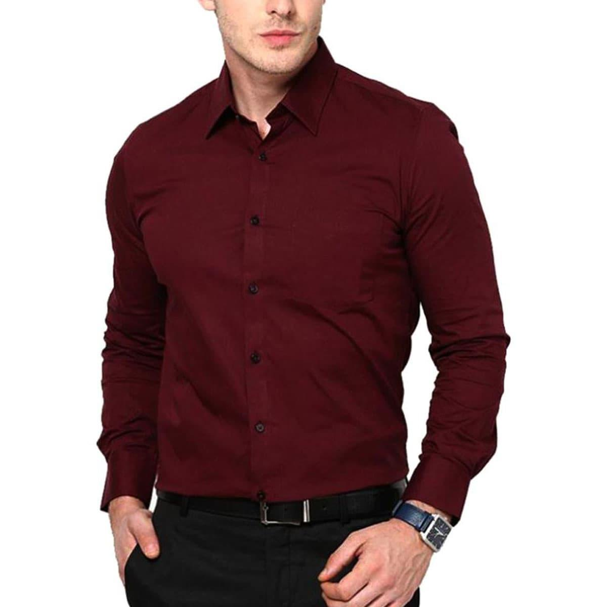 01a894030ac Dress Shirt For Men - Cotton - Maroon With brown Belt