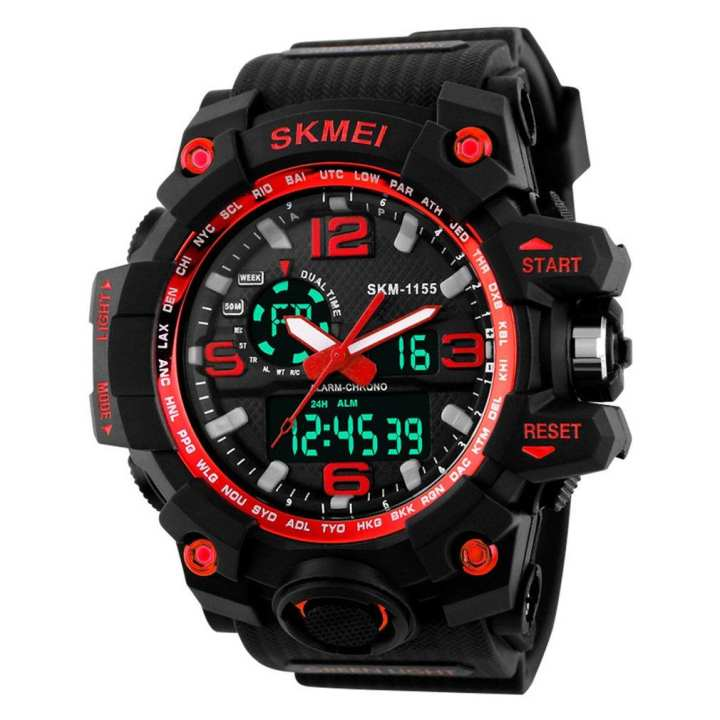 SKMEI 1155 Men Sports Watch Luminous Digital LED 5ATM Waterproof