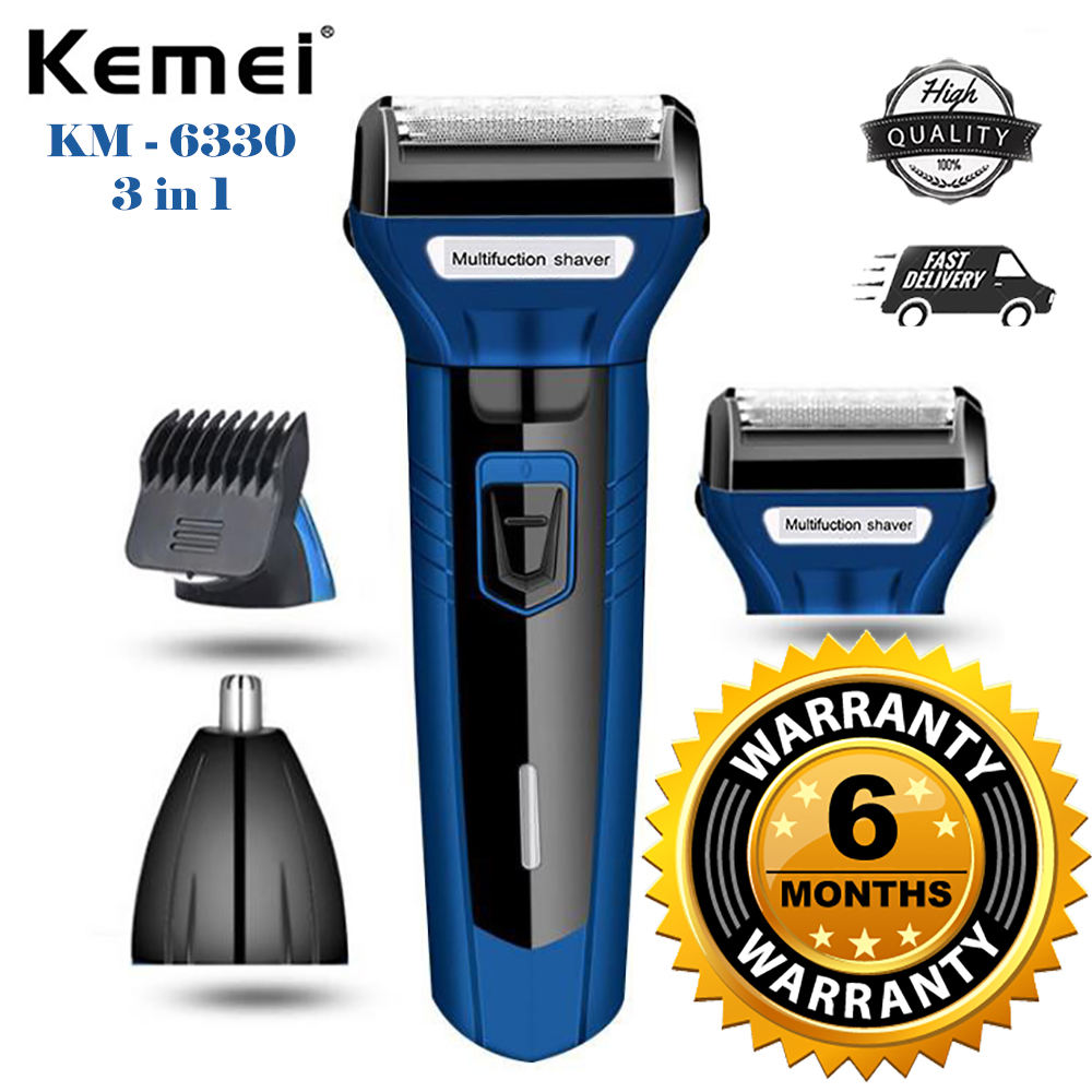 Kemei 3 In 1 km 6330 Rechargeable Hair Clipper Shaver beard Styling Hair Removal machine shaving machine for men -  km-6330/6558/6331 - blue