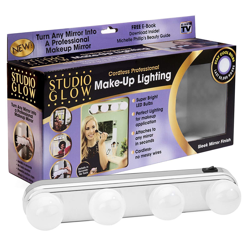 Portable Super Bright Vanity Mirror Studio Glow Make Up Lighting with 4 LED Bulbs