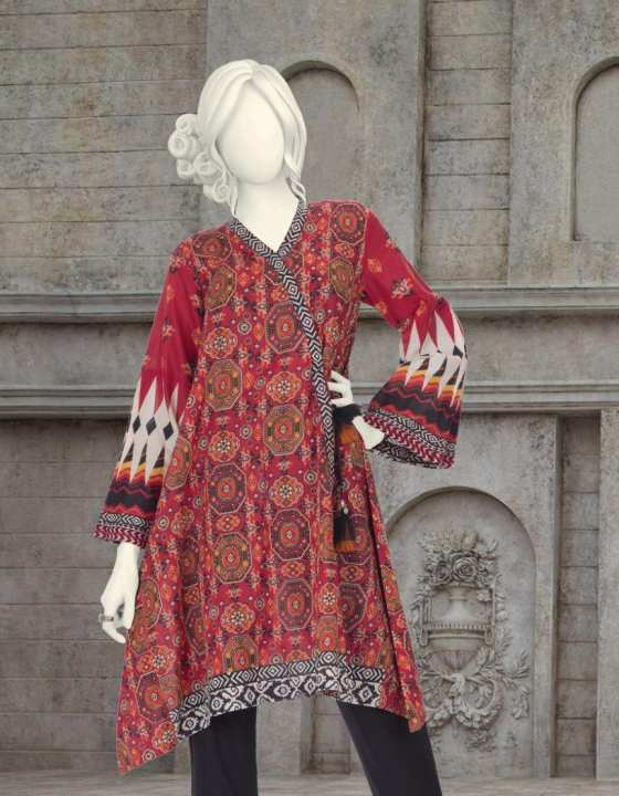 Junaid Jamshed Summer Collection 2019 Red Lawn Unstitched 1 Pc Suit for Women