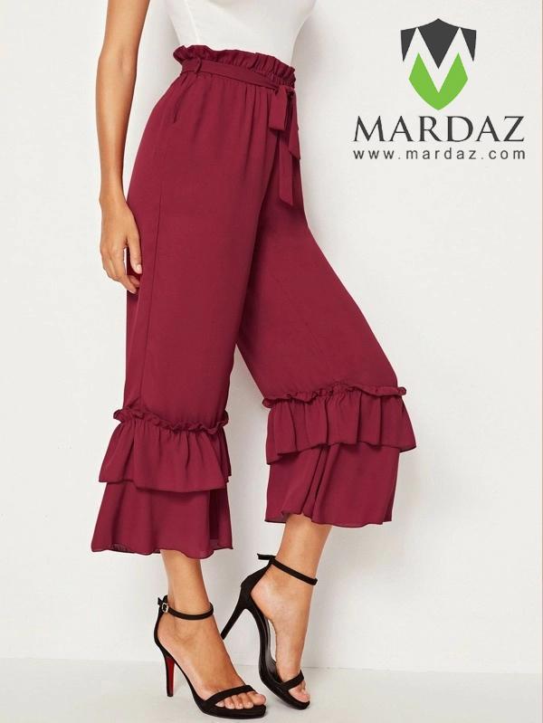 Mardaz Fashion Paper bag Waist Layered Ruffle Hem Belted Pants