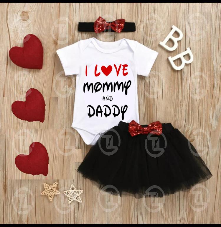4pcs Baby Girls Clothes Toddler Outfits Set (I Love Mummy & Daddy) Romper Tutu Skirt Headband