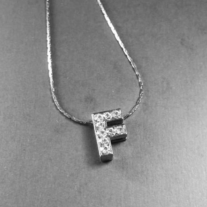 """Silver Stainless """"F"""" Alphabet Locket with Chain For Girls & Boys"""