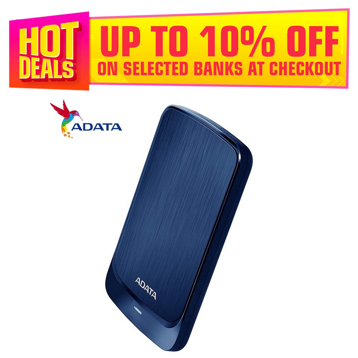 ADATA 1TB HV320 Slim Compact Portable USB 3.2 Gen 1 External Hard Drive - Blue