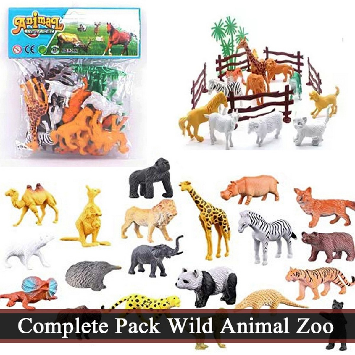 Complete Pack High Quality Rubber Wild Animal Zoo Set Toys For Kids & Boys