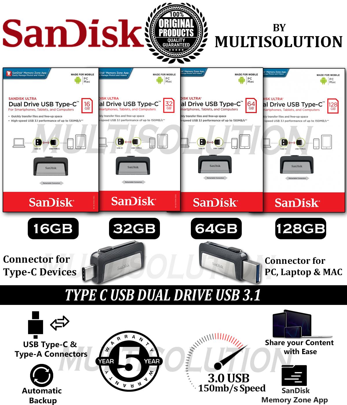SanDisk Type C Ultra OTG USB Dual Drive 3.1 - OTG - 5 Years Warranty