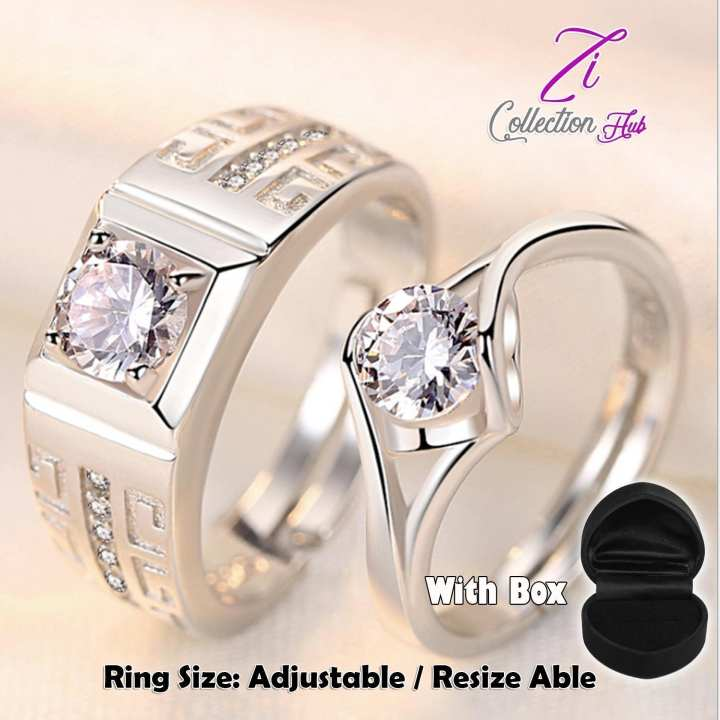 New Fashion 925 Sterling Silver Lovers Rings -Adjustable- Engagement Shiny Crystal CZ Romantic Love Couple Ring Jewelry - Resize able
