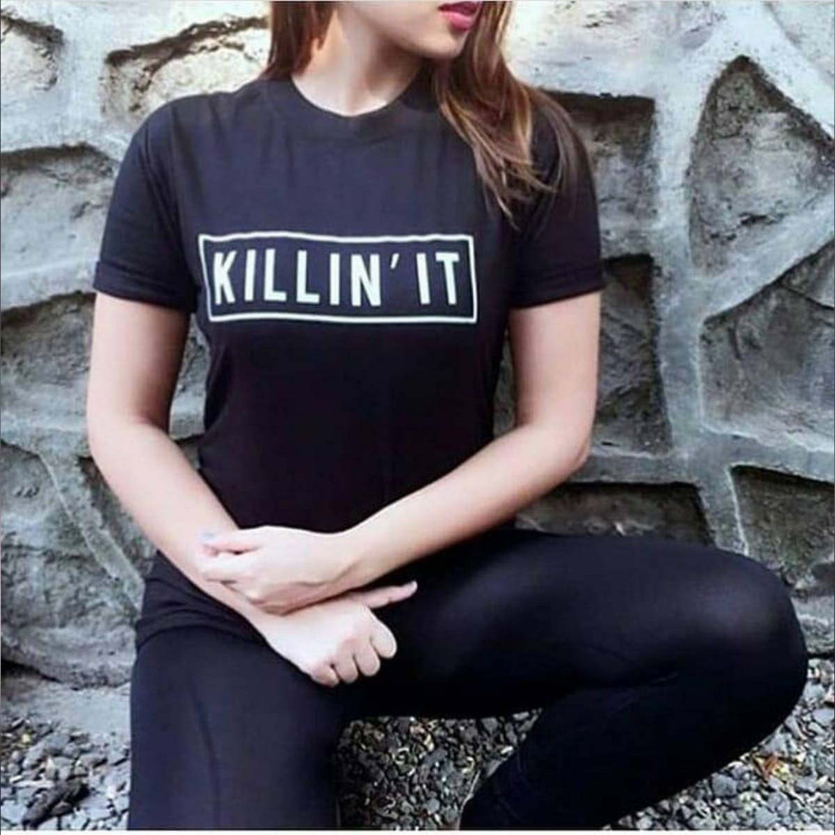 NEW Arrival 2019 Killin It Letter Black T Shirt Women Tshirt Casual Funny T Shirt For Lady Girl Top Tops