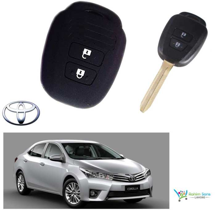 Toyota 2 Button PVC Silicon Key Cover - Black