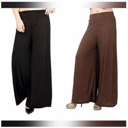 Pack Of 2 Viscose Long Palazzo Pants for Women (Black-Brown)