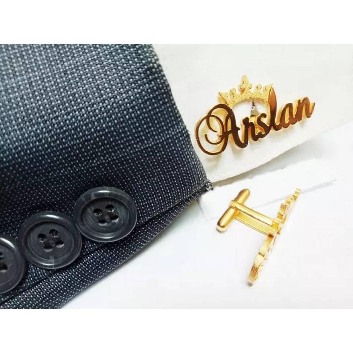 Custom 24K Gold Plated Name Cuff links