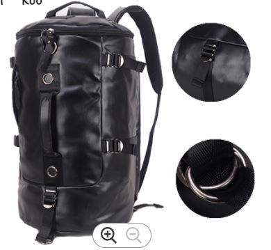 Black PU Leather Men's Large Roll Handbag Travel Duffle Gym Luggage Bag Tote Shoulder Bag with detachable long strap