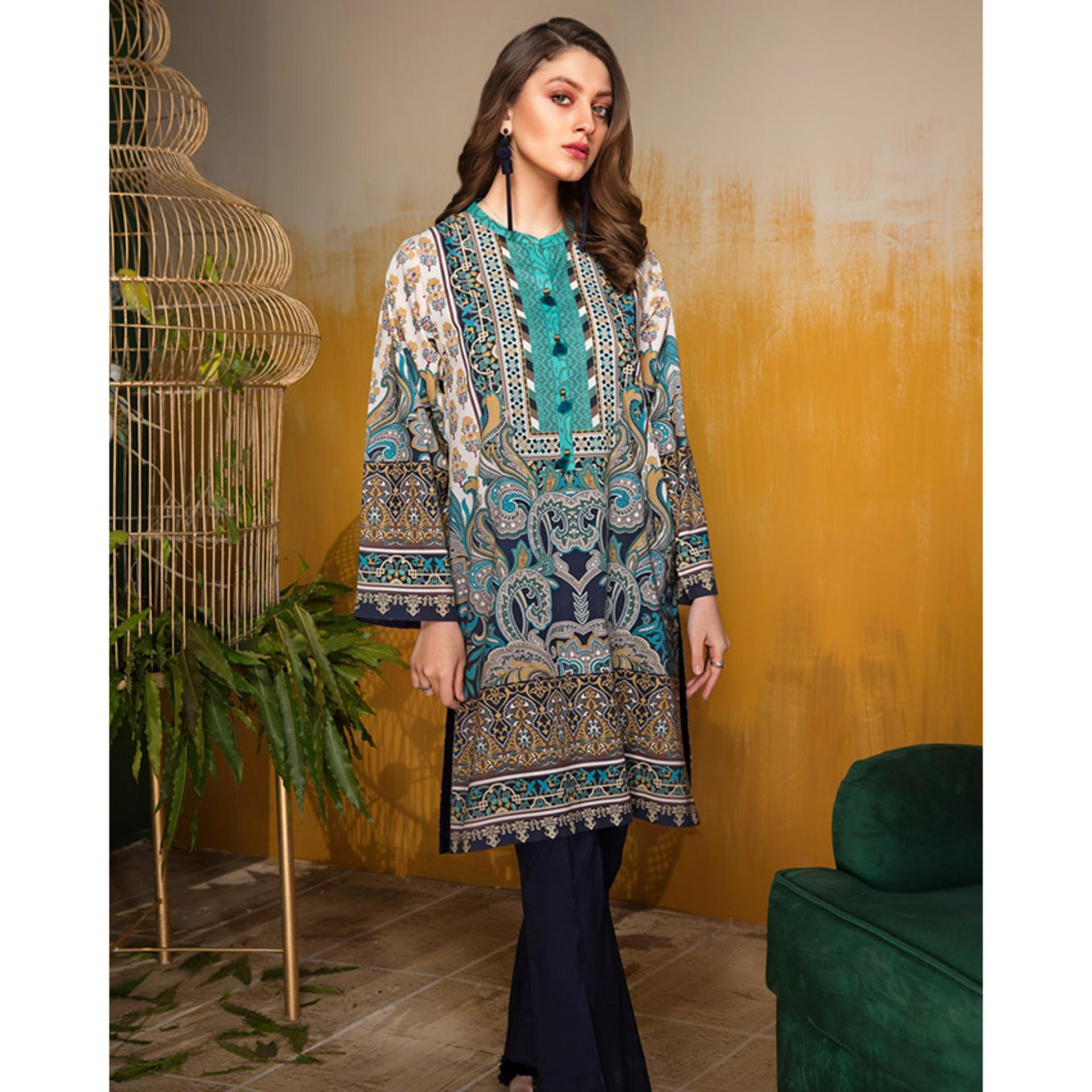 bb8f12e76d0 Limelight Floral Forest Unstitched Single Shirt Sea Green Lawn Collection  Vol. 1 - U0650-