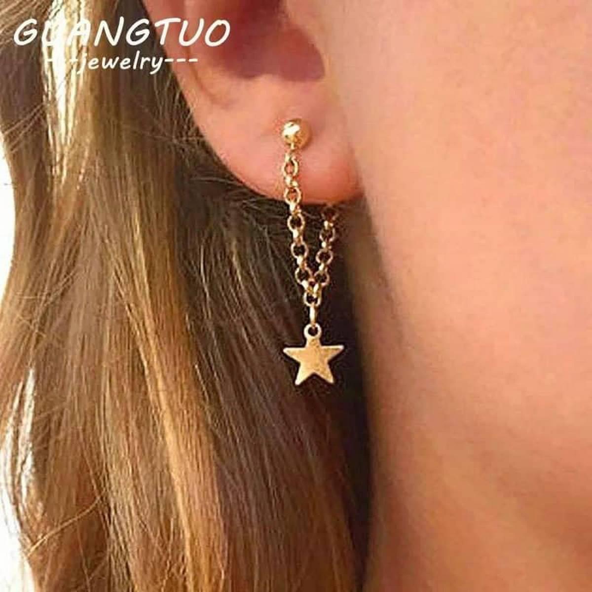 Girls Golden Chain Star Earring Trendy Fashion Jewellery Women Earrings