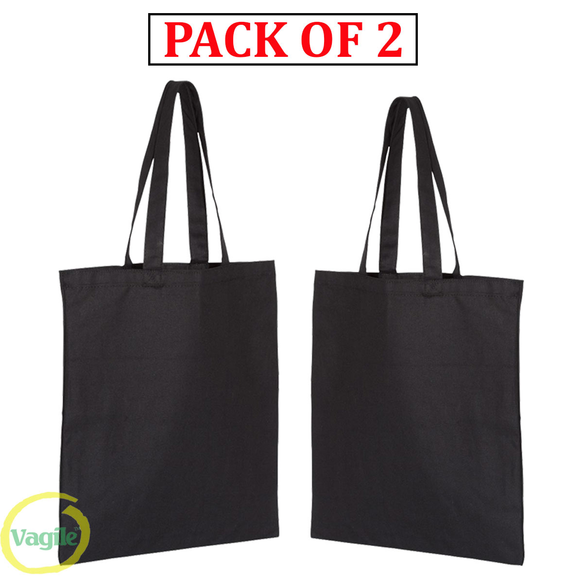 Pack of 2 shopping bag reusable foldable eco-friendly Bags cotton handle tote Black