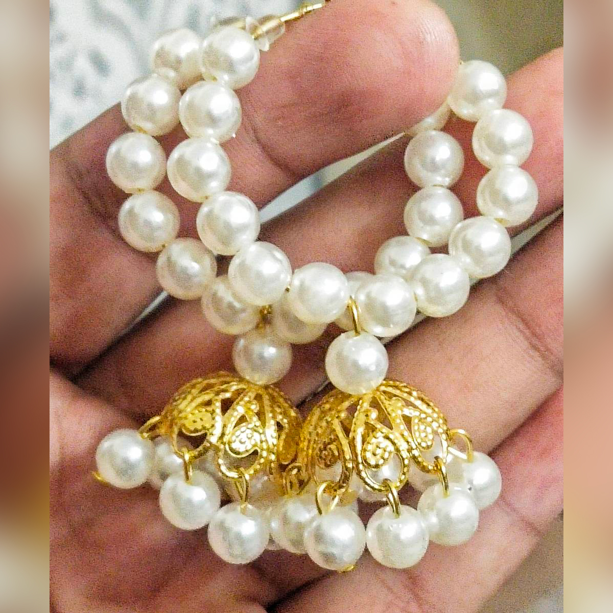 New White shine Pearl Gold Plated Jhumka Design Round Baliya earrings for Weddings, Events and Parties