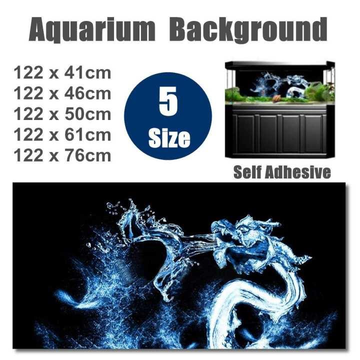 Water Dragon HD Aquarium Background Poster Fish Tank Decorations Landscape # 122 x 46cm