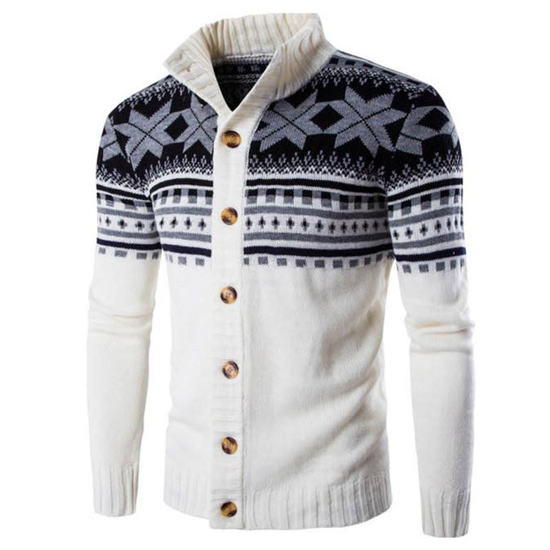 Male Christmas Cardigan Sweater Winter Plus Size Mens Sweaters Long Sleeve Jacket Casual Knitted Sweater Coat Knitwear (White)