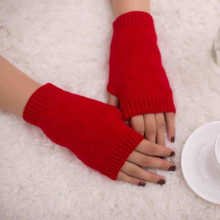 Women Girl Knitted Fingerless Warm Thermal - Winter Soft Warm Glove