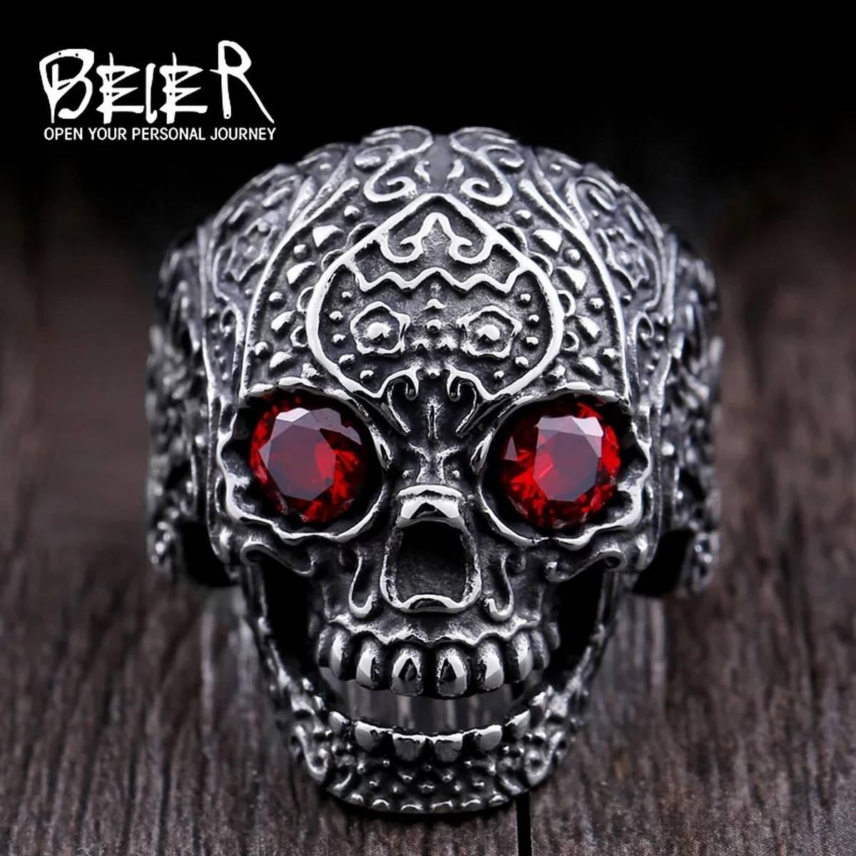 Beier 316L stainless steel ring hot sale punk biker skull man Classic Garden Flower Skull ring fashion jewelry