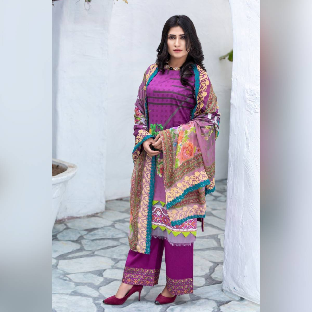 Peshwa Unstitched Plum 3-Pc Lawn Embroidered Suit For Women Summer Unstitched Vol 9 P309008