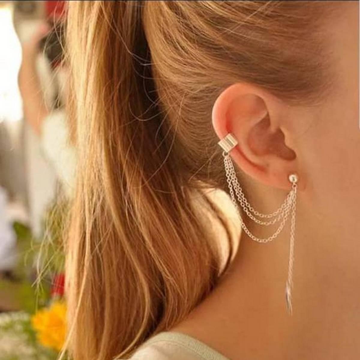1 piece  ZAR Gold Color Punk Leaf Tassel Clip Earring for Women Ear Cuff