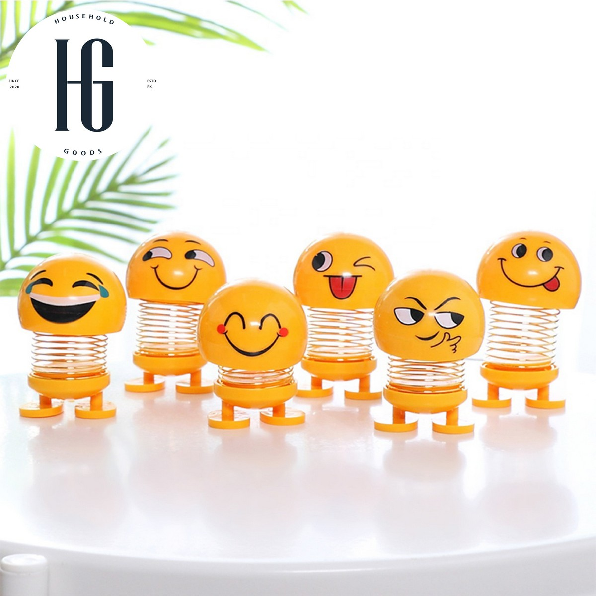 Cute Dancing Spring Emoji funny shaking head doll bouncing Toy Smiley Face Car Ornament cartoon - 1, 2, 4 and 6 PCs
