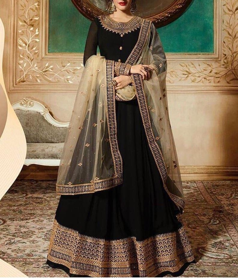 Indian Chiffon Bridal Embroidery maxi With Net Embroidery Dupatta