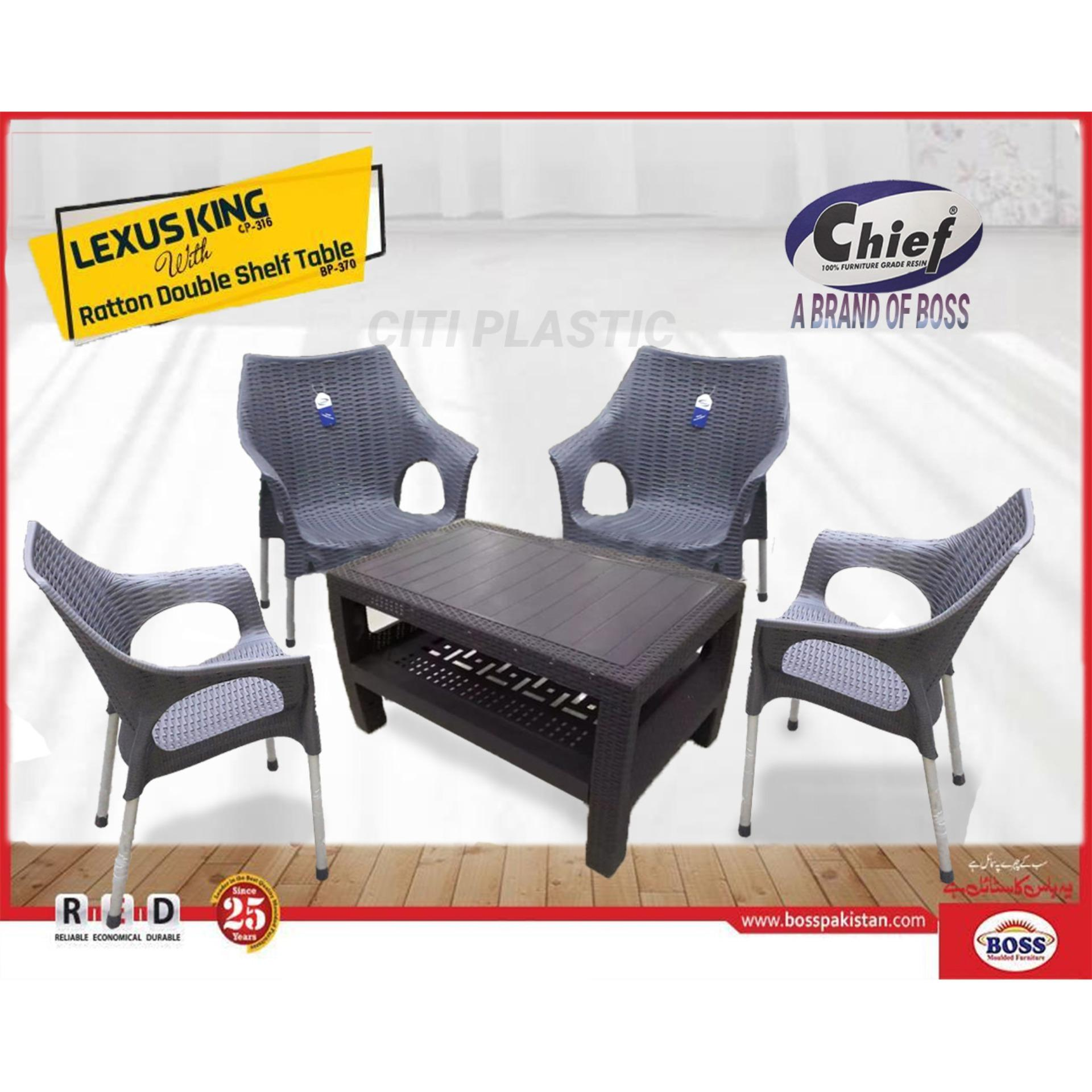 Set Of 4 Rattan Plastic Chairs And Plastic Table Dark Grey Buy Online At Best Prices In Pakistan Daraz Pk
