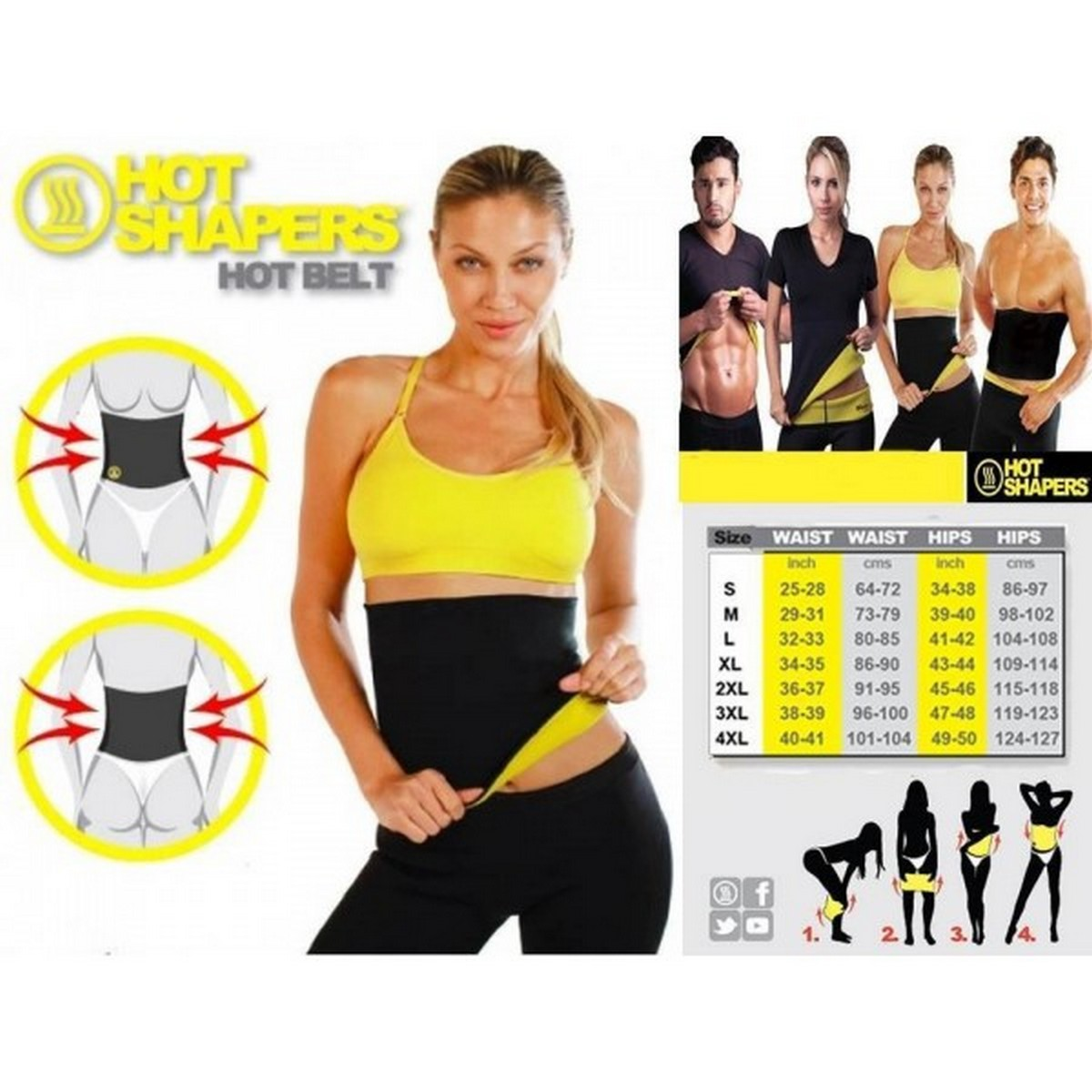 HOT SHAPERS Hot Belt for Women – Sweat Enhancing Neoprene Stomach Shaper and Belly Fat Burner for a Slimmer & Trimmer Waist ( Small)