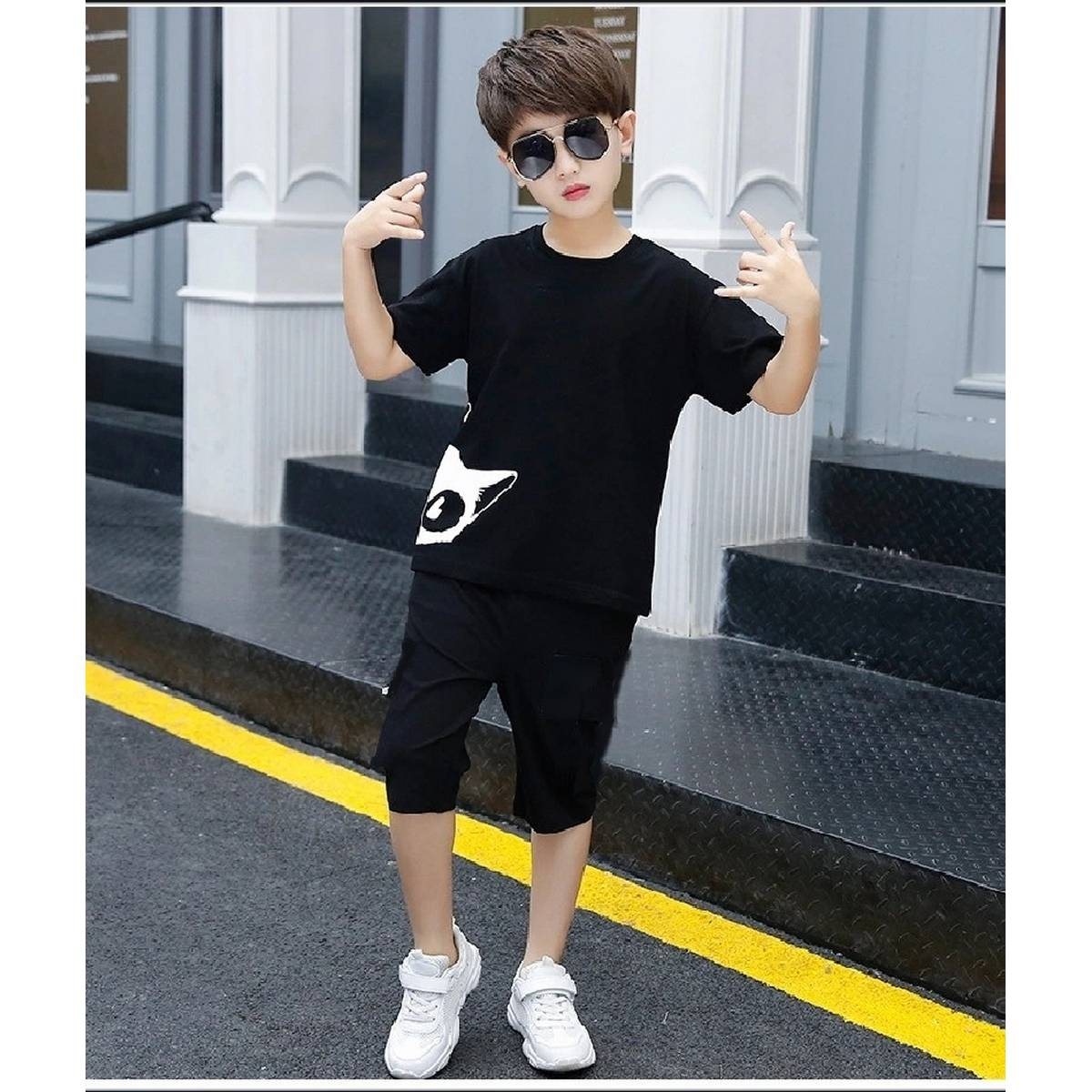 T Shirt And Shorts For Kids Baby Boys Round Neck Short Sleeves Tee Tops Cloths Set Dresses Outfit