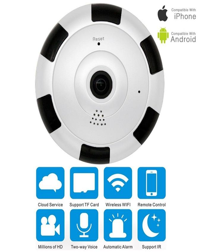 V380 - Home Security Ceiling Fish Eye Wireless IP Camera - Black &White