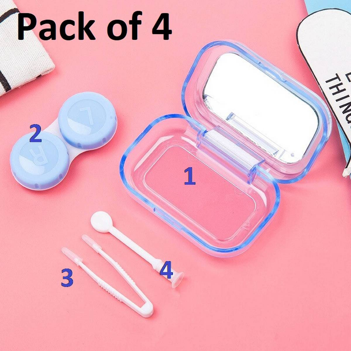 Cute Contact Lenses Case Travel Kit with Lens Applicator and Tweezer Lens Remover