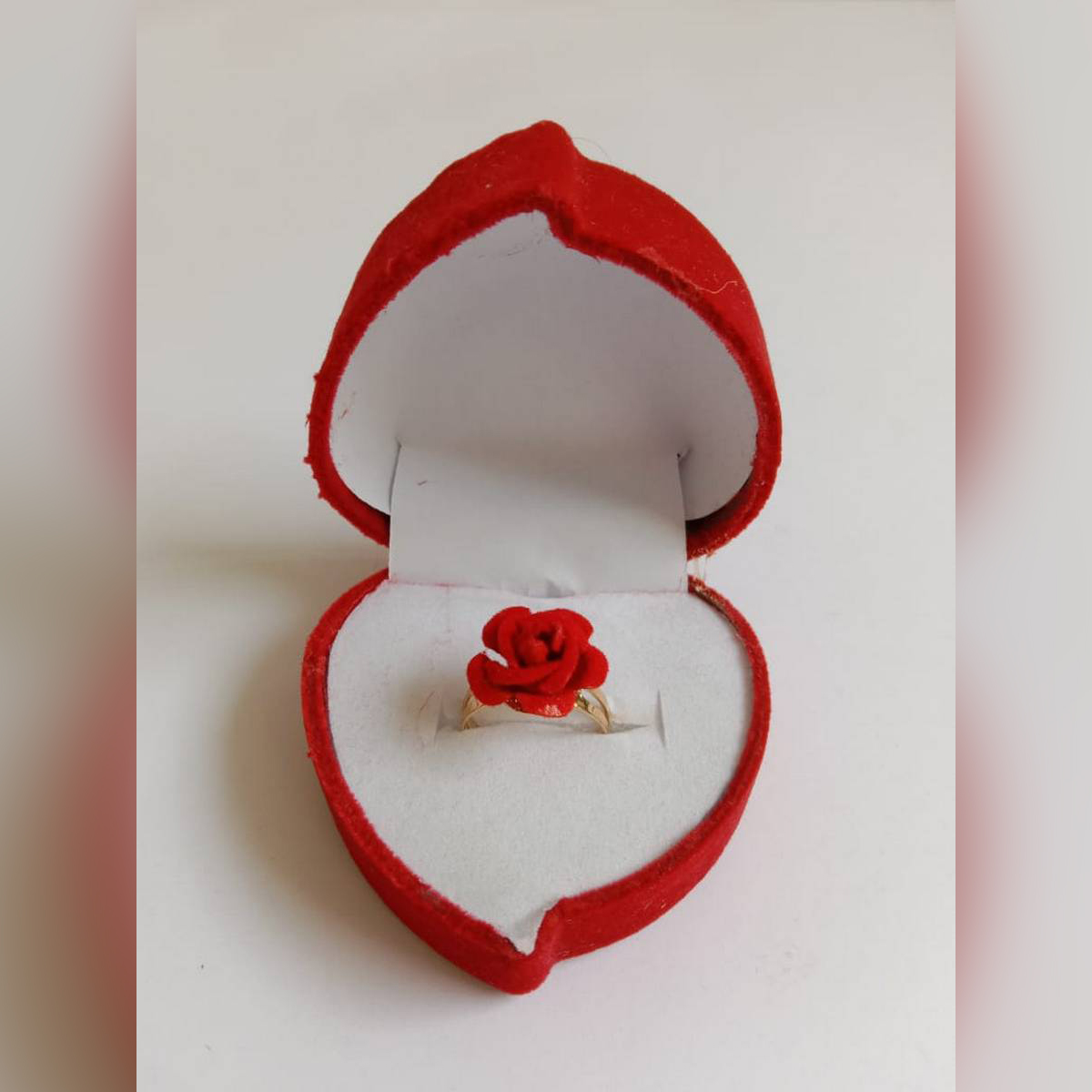 Rose Ring With Heart Style Box For Girls, Adjustable Size, Latest Design, Suitable for Girls and Women's as an EID Gift / Valentine Gift / Anniversary etc