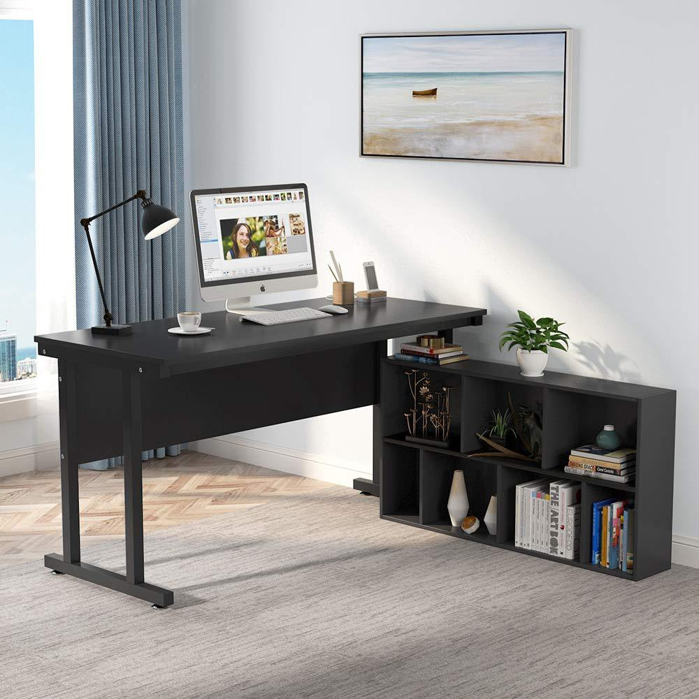 55 inch Computer Desk L-Shaped Desk with Bookcase Executive Office Desk with 7-Cube Storage & Printer Stand for Home Office