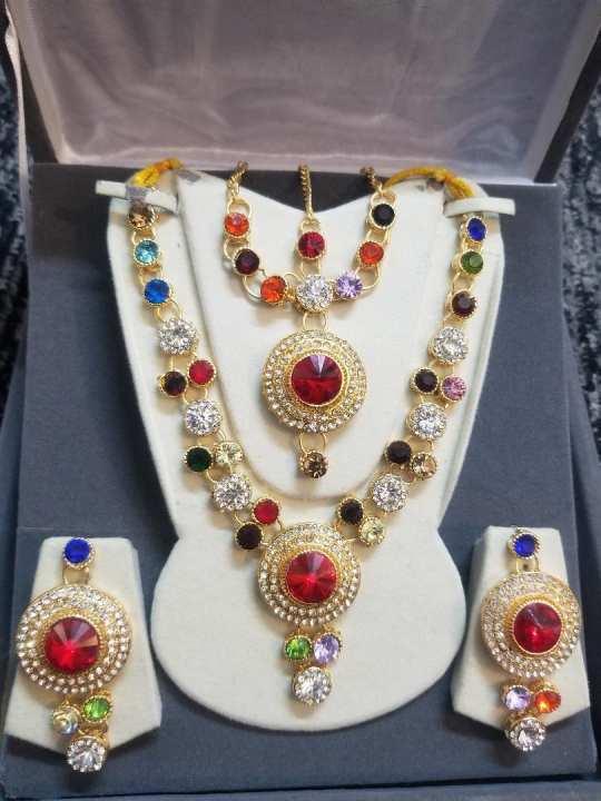 Jewellery Set Golden With MultiColour Zircon For Women