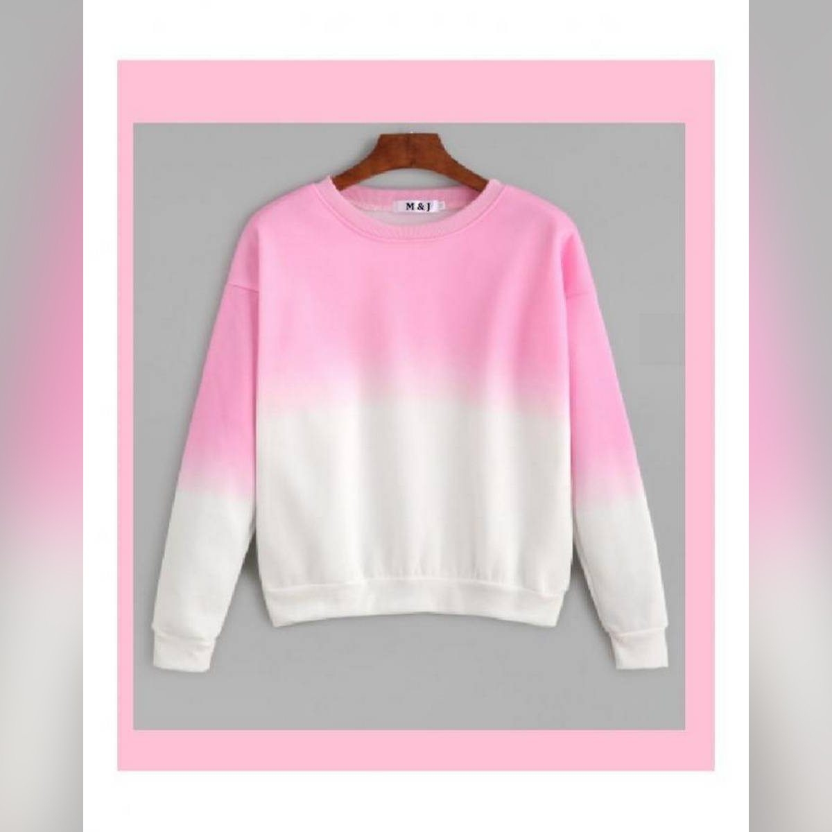 Pink Ombre Sweat Shirt For Women