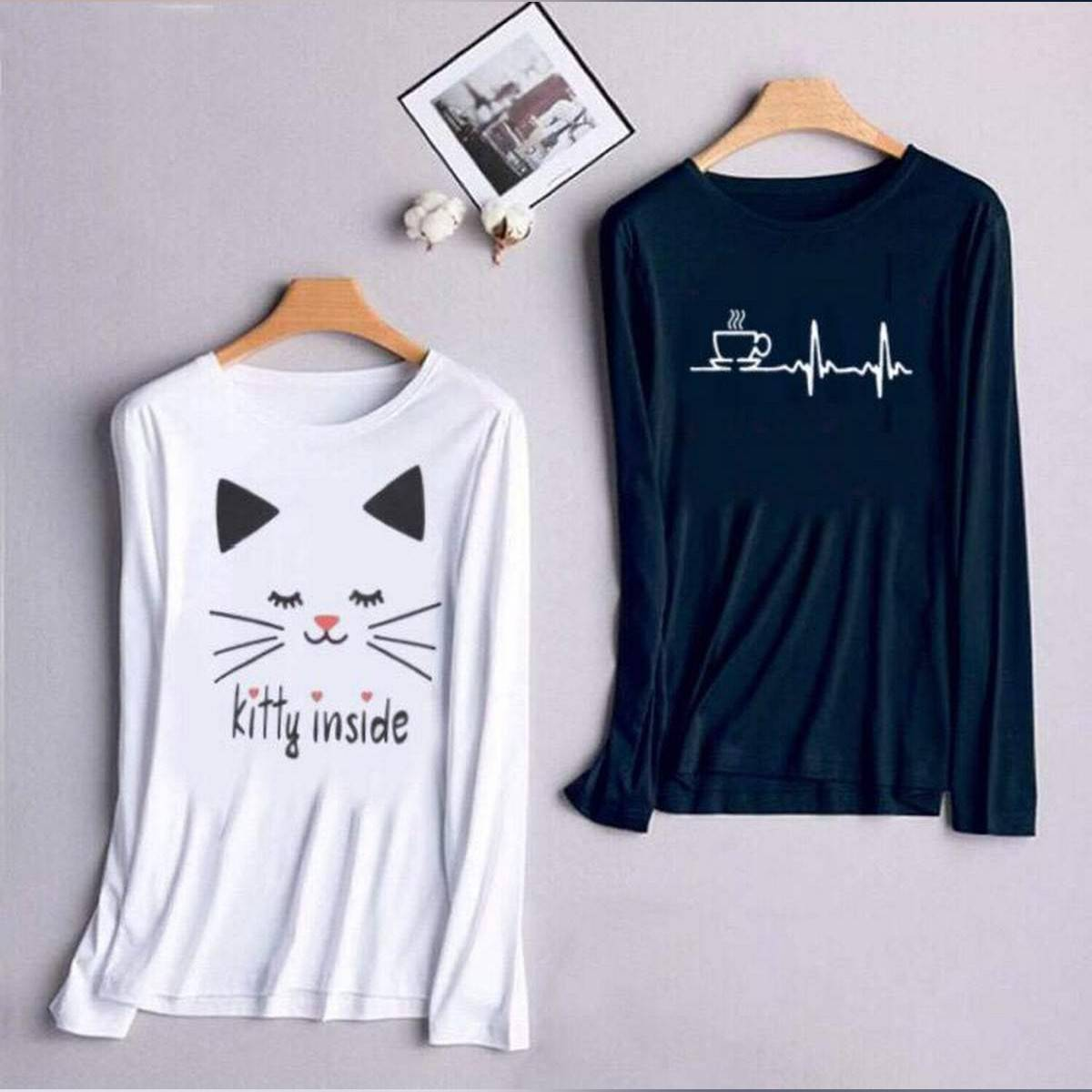White T Shirt For Girls new and stylish design ( Kitty Inside ) Summer Wear , Round Neck