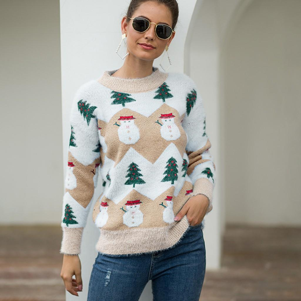 Women Christmas Sweater Long Sleeve O-Neck Christmas Tree knitting Sweater Tops Comfortable Versatile Tops