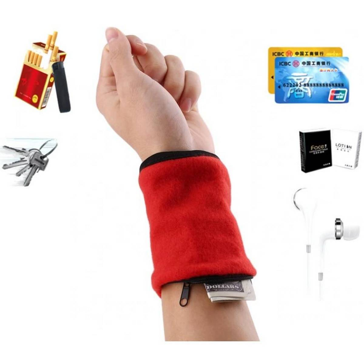 Wrist Sports Wallet Fitness Band Wristbands Travel Cycling Hiking