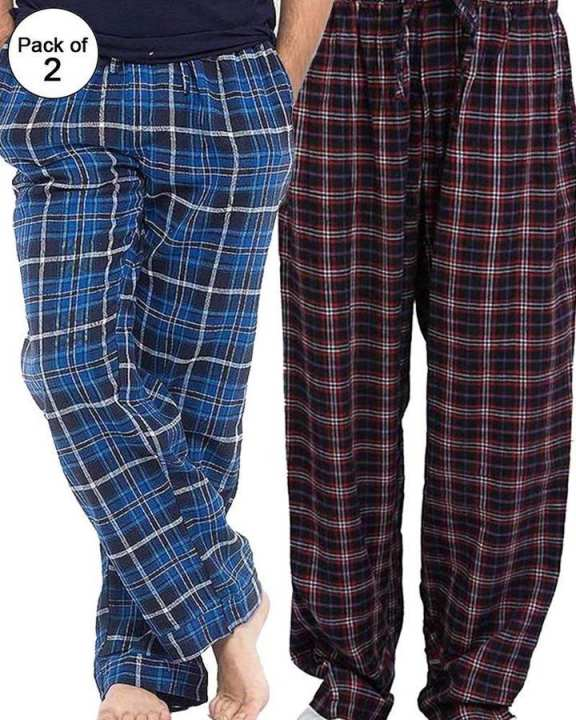 Pack of 2 - Men's Cotton Check Pajama - Cotton Yarn Dyed Flannel Men's Pajama