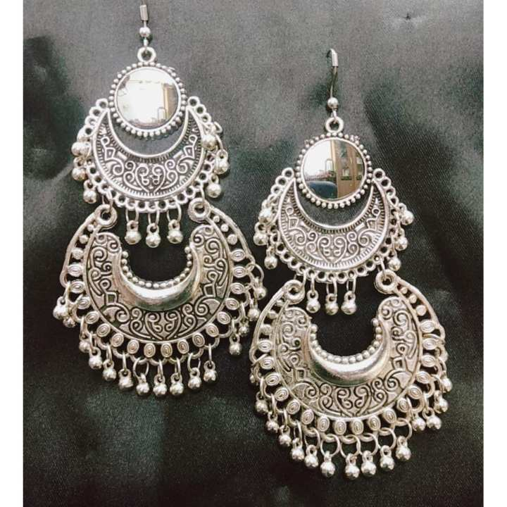 Indian Oxidizied Sterling Silver Mirror Vintage Earring